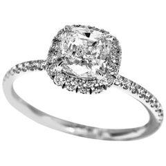 Harry Winston Cushion Cut Diamond Platinum Micropave Engagement Ring