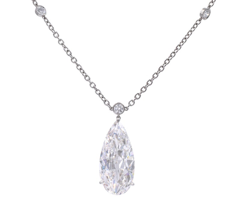 Artist Harry Winston D Color IF Clarity GIA Certified Diamond Pendant/Necklace For Sale