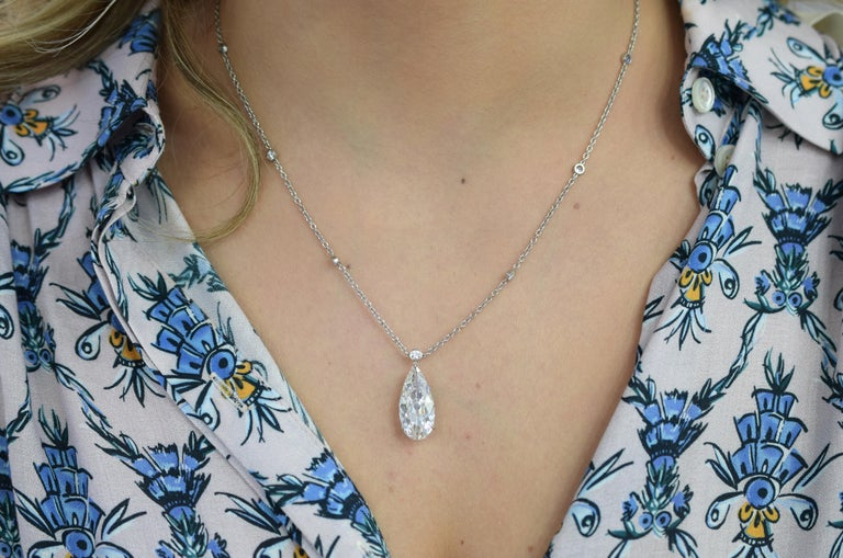 Pear Cut Harry Winston D Color IF Clarity GIA Certified Diamond Pendant or Necklace For Sale