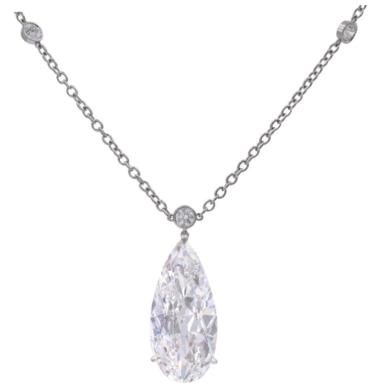 Harry Winston D Color IF Clarity GIA Certified Diamond Pendant/Necklace For Sale