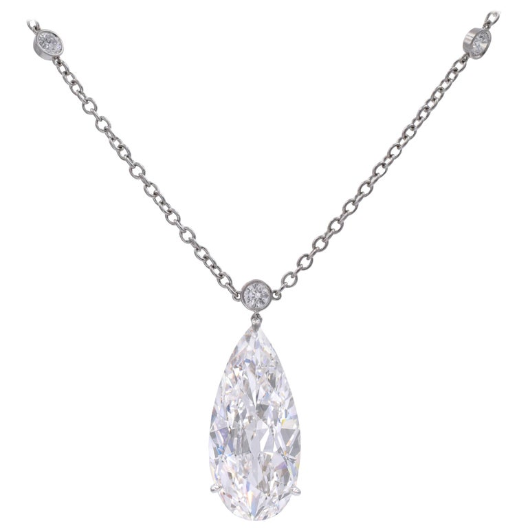 Harry Winston D Color IF Clarity GIA Certified Diamond Pendant or Necklace For Sale