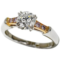 Harry Winston Diamond Platinum 18 Karat Pink Gold Tryst Solitaire Ring  US 4.5