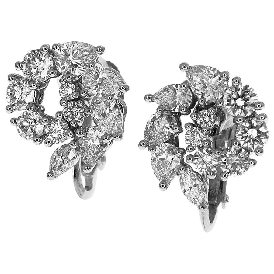 Harry Winston Diamond 18 Karat White Gold Platinum Open Cluster Small Earrings