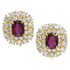 Harry Winston Diamond and Ruby Earrings