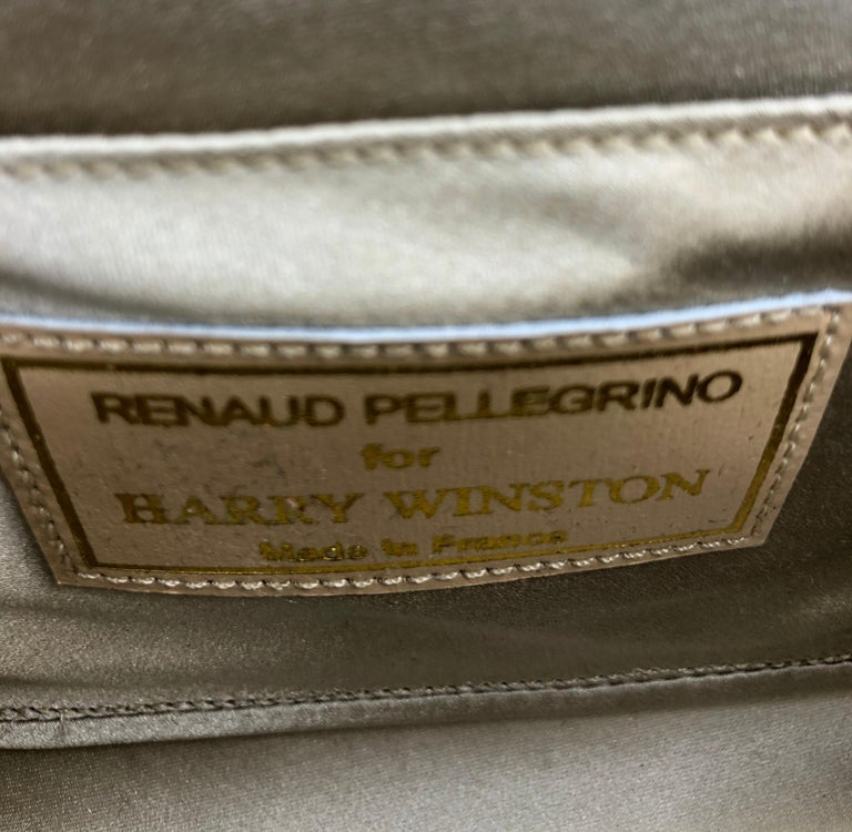 Harry Winston Diamond White Gold Beige and Black Silk Evening Bag In Good Condition For Sale In New York, NY