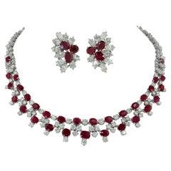 Harry Winston Diamond, Burma Ruby Necklace & Earrings
