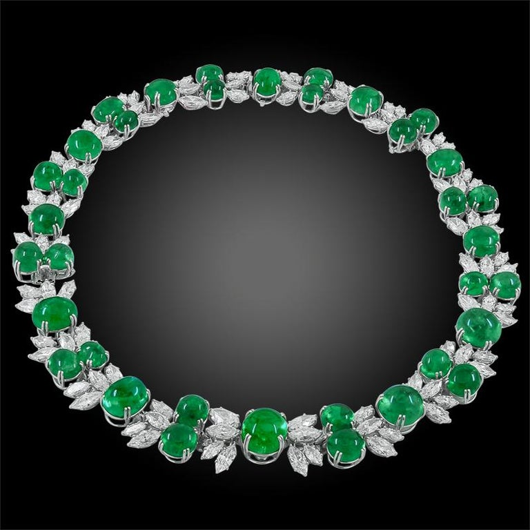 Platinum cabochon Colombian Emerald and marquise diamond detachable necklace - 2 bracelets, signed Harry Winston. Circa 1960s Emerald - with AGL certificate Marker marks - Francois Tavernier
