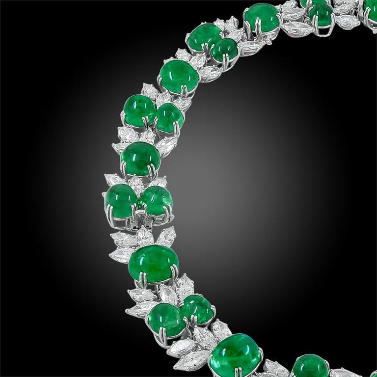Harry Winston Diamond, Cabochon Emerald Necklace In Good Condition For Sale In New York, NY