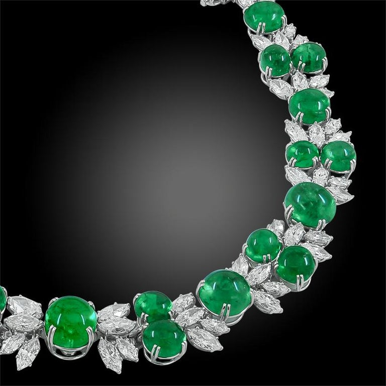 Women's Harry Winston Diamond, Cabochon Emerald Necklace For Sale