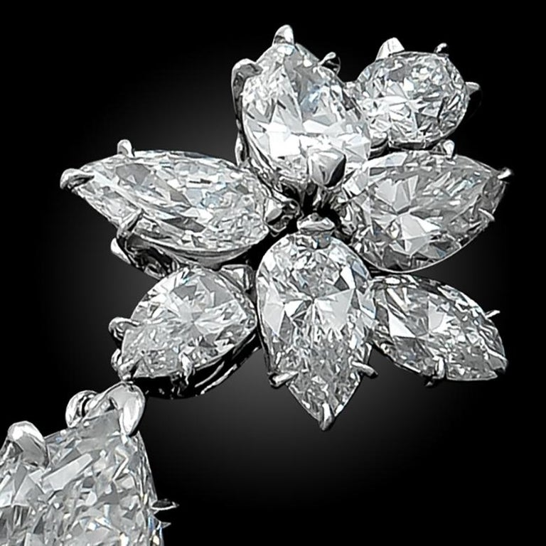 Harry Winston Diamond Cluster Gold Ear Clips In Good Condition For Sale In New York, NY