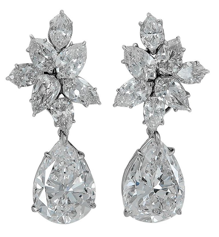 Women's Harry Winston Diamond Cluster Gold Ear Clips For Sale