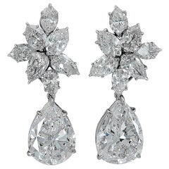 Harry Winston Diamond Cluster Gold Ear Clips