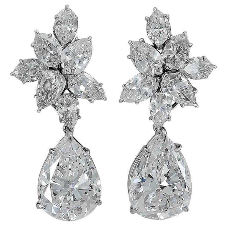 Harry Winston Diamond Cluster Gold Ear Clips For Sale