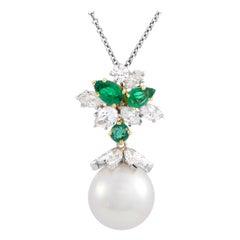 Harry Winston Diamond, Emerald and Pearl Platinum Dangle Pendant Chain Necklace