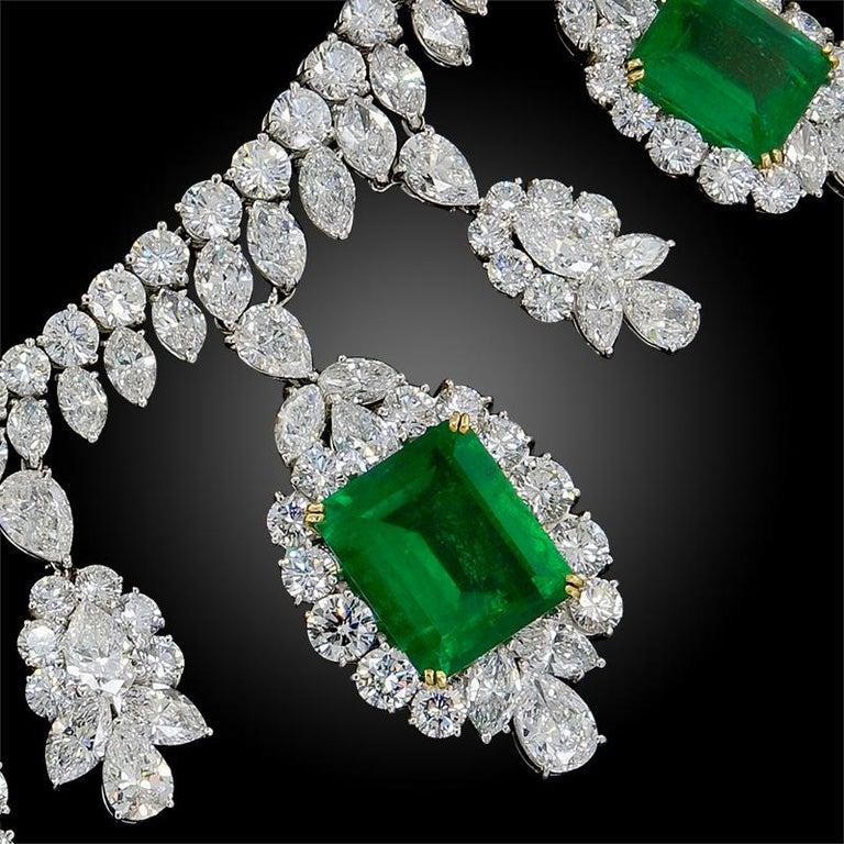 Women's Harry Winston Diamond, Emerald Necklace For Sale