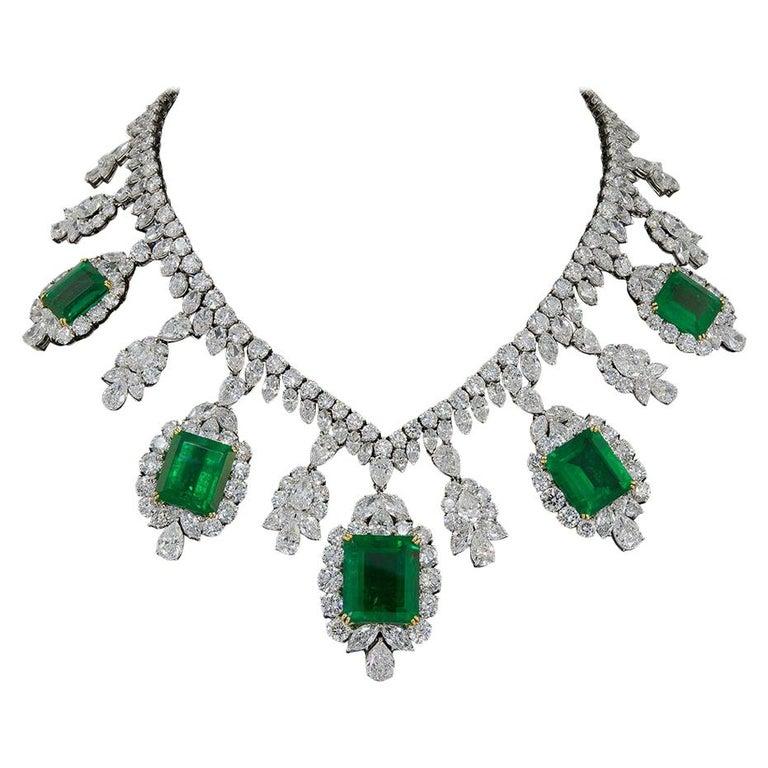 Harry Winston Diamond, Emerald Necklace For Sale