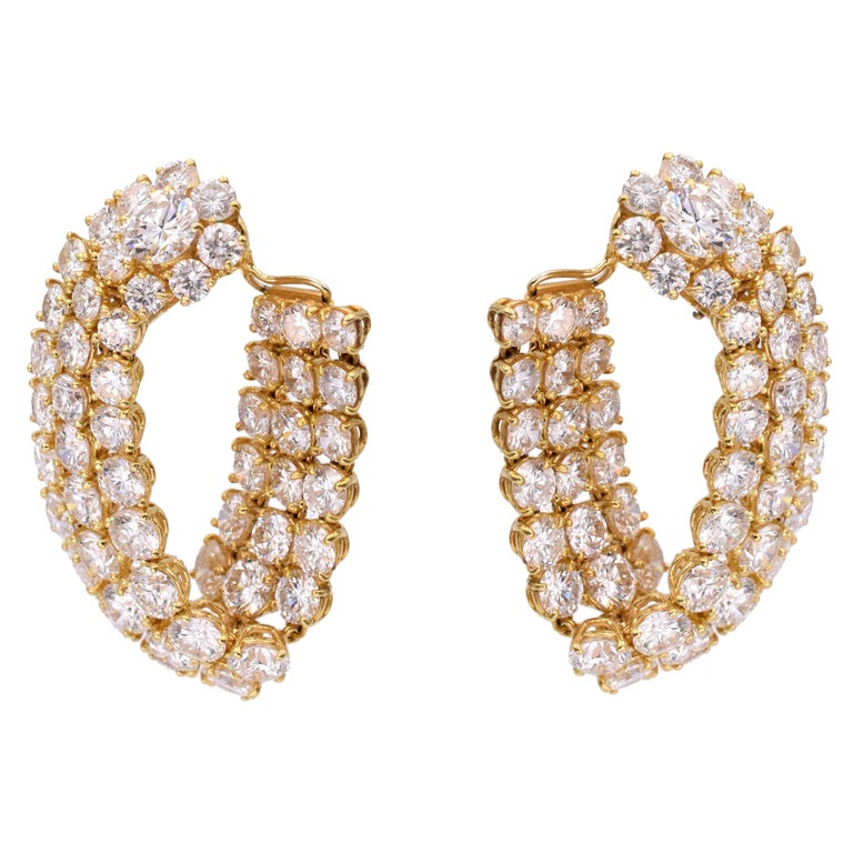 Harry Winston Diamond Hoop Earrings For Sale