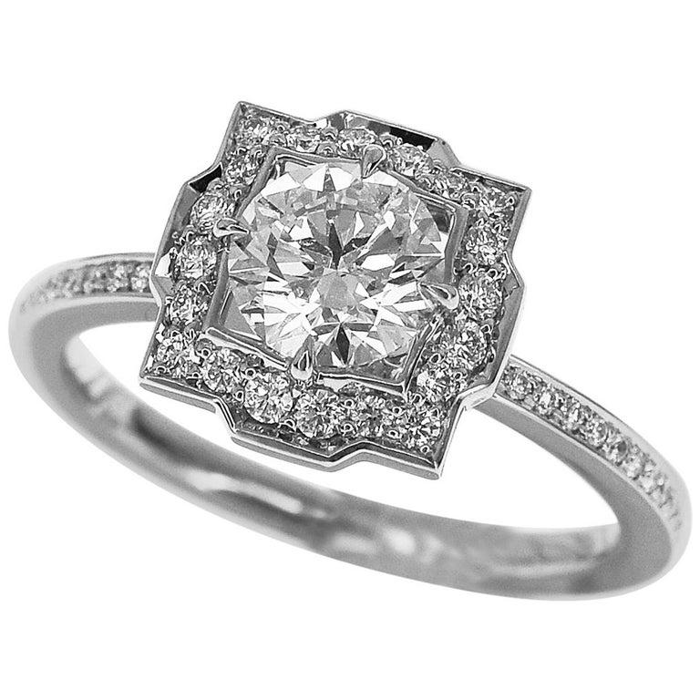 Harry Winston Diamond Platinum Belle by Harry Winston Micropavé Ring US 3.5 For Sale
