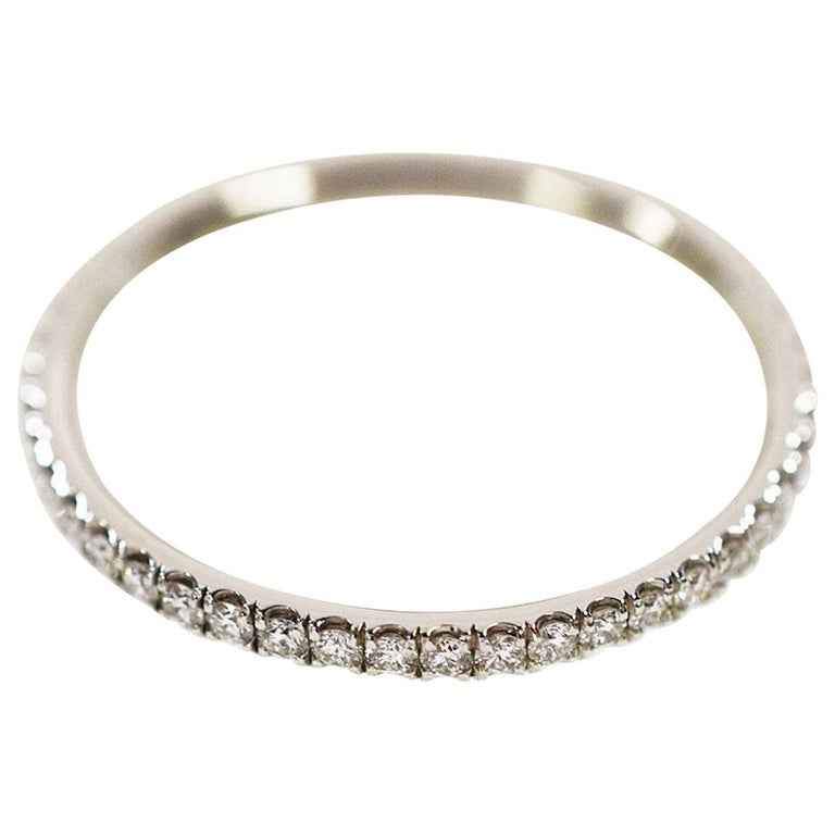 Harry Winston Diamond Platinum Eternity Micropave Band Ring For Sale