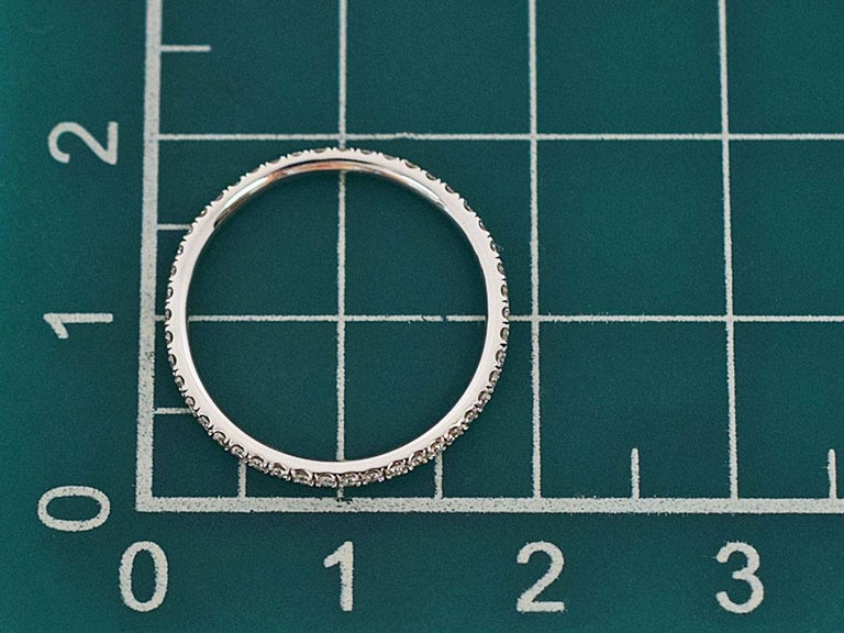 Harry Winston Diamond Platinum Eternity Micropave Band Ring For Sale 2