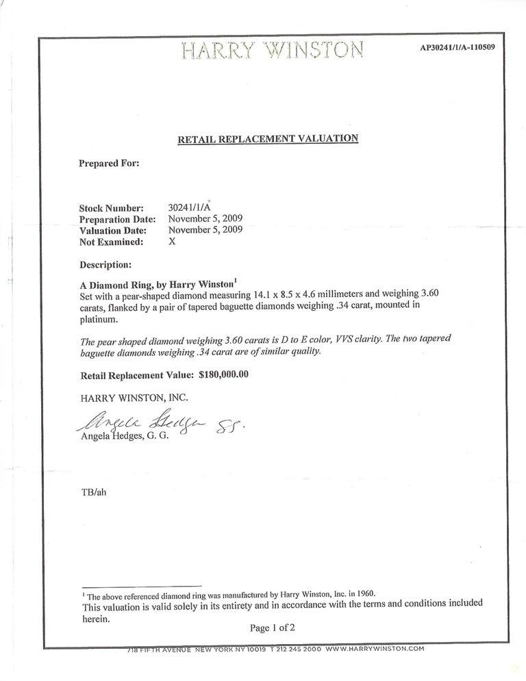 Harry Winston Diamond Platinum Ring 3.60 Carat Pear D/VVS1 GIA For Sale 5