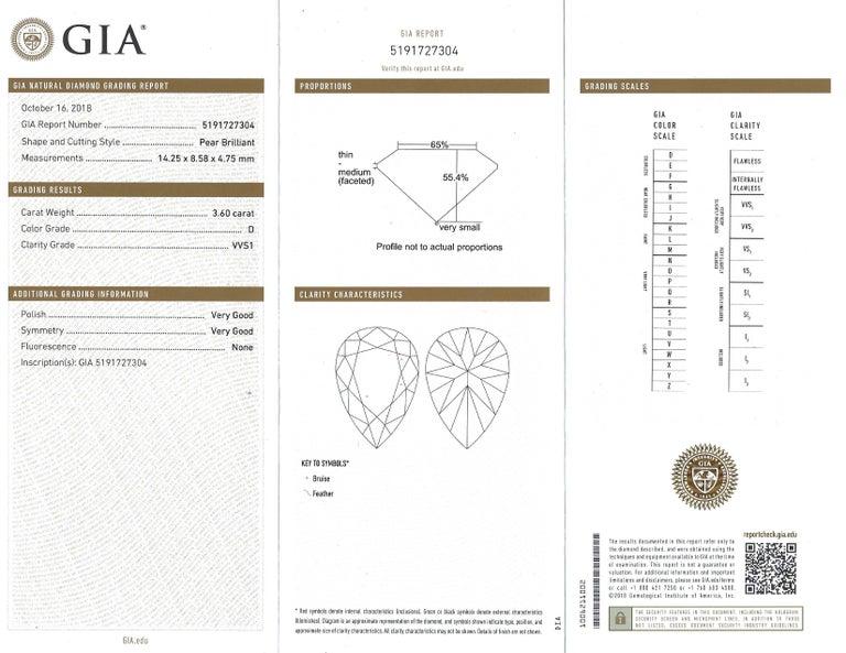 Pear Cut Harry Winston Diamond Platinum Ring 3.60 Carat Pear D/VVS1 GIA For Sale