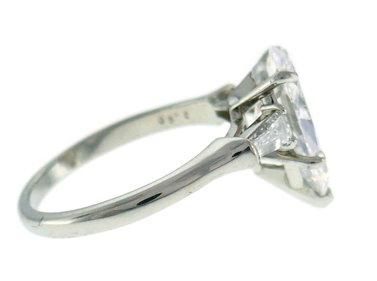 Harry Winston Diamond Platinum Ring 3.60 Carat Pear D/VVS1 GIA In Excellent Condition For Sale In Beverly Hills, CA