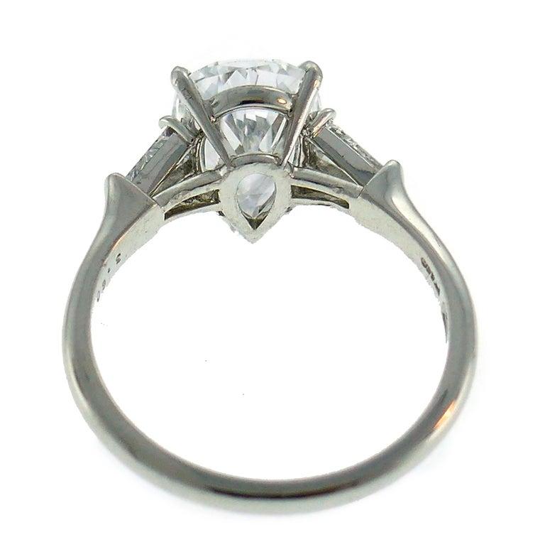 Women's Harry Winston Diamond Platinum Ring 3.60 Carat Pear D/VVS1 GIA For Sale