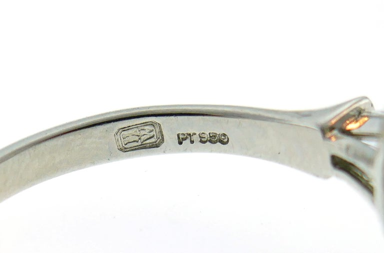 Harry Winston Diamond Platinum Ring 3.60 Carat Pear D/VVS1 GIA For Sale 3