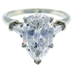 Harry Winston Diamond Platinum Ring 3.60 Carat Pear D/VVS1 GIA