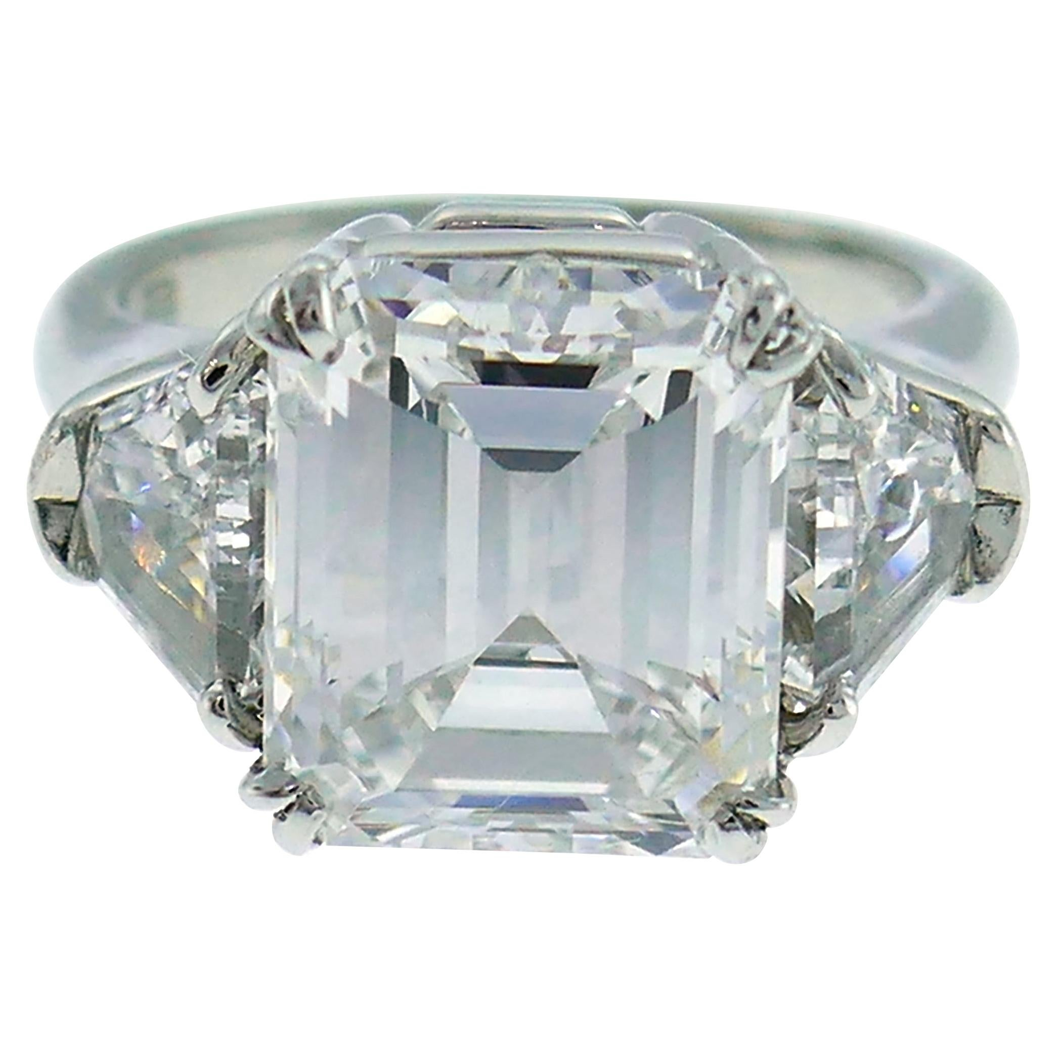 Harry Winston Diamond Platinum Ring 4.03 Carat Emerald Cut E/VS1 GIA