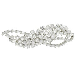 Harry Winston Diamond Platinum Wave Brooch