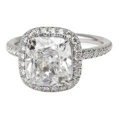 Harry Winston Diamond Engagement Ring in Platinum '2.66 Carat Cushion D/VVS2'