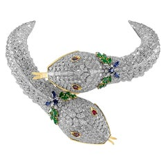 Harry Winston Diamond, Ruby, Emerald, Sapphire Two Serpent Necklace