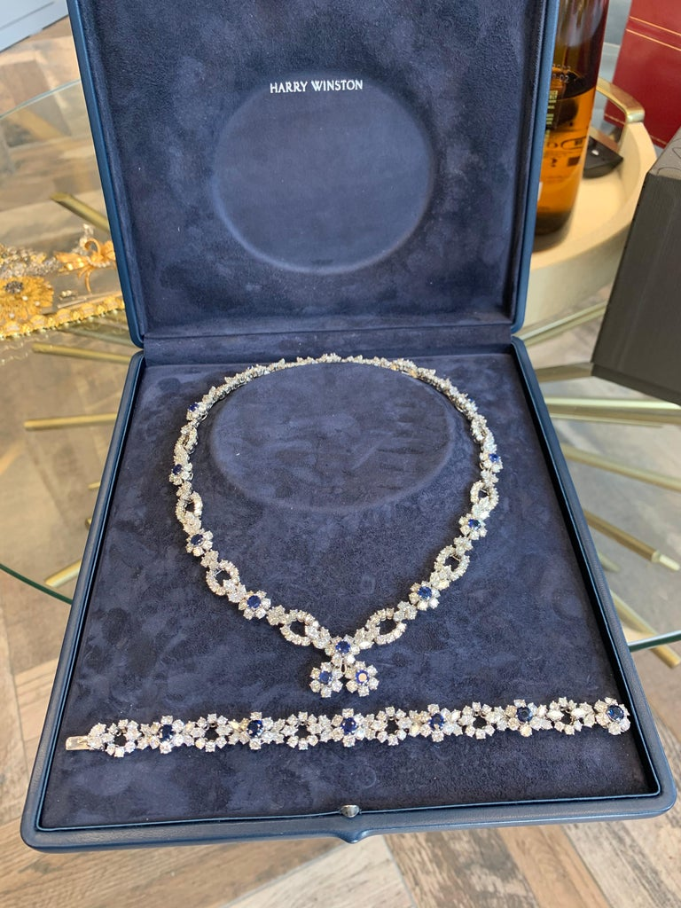 Harry Winston Diamond Sapphire Necklace Bracelet Earrings Set In Excellent Condition For Sale In New York, NY