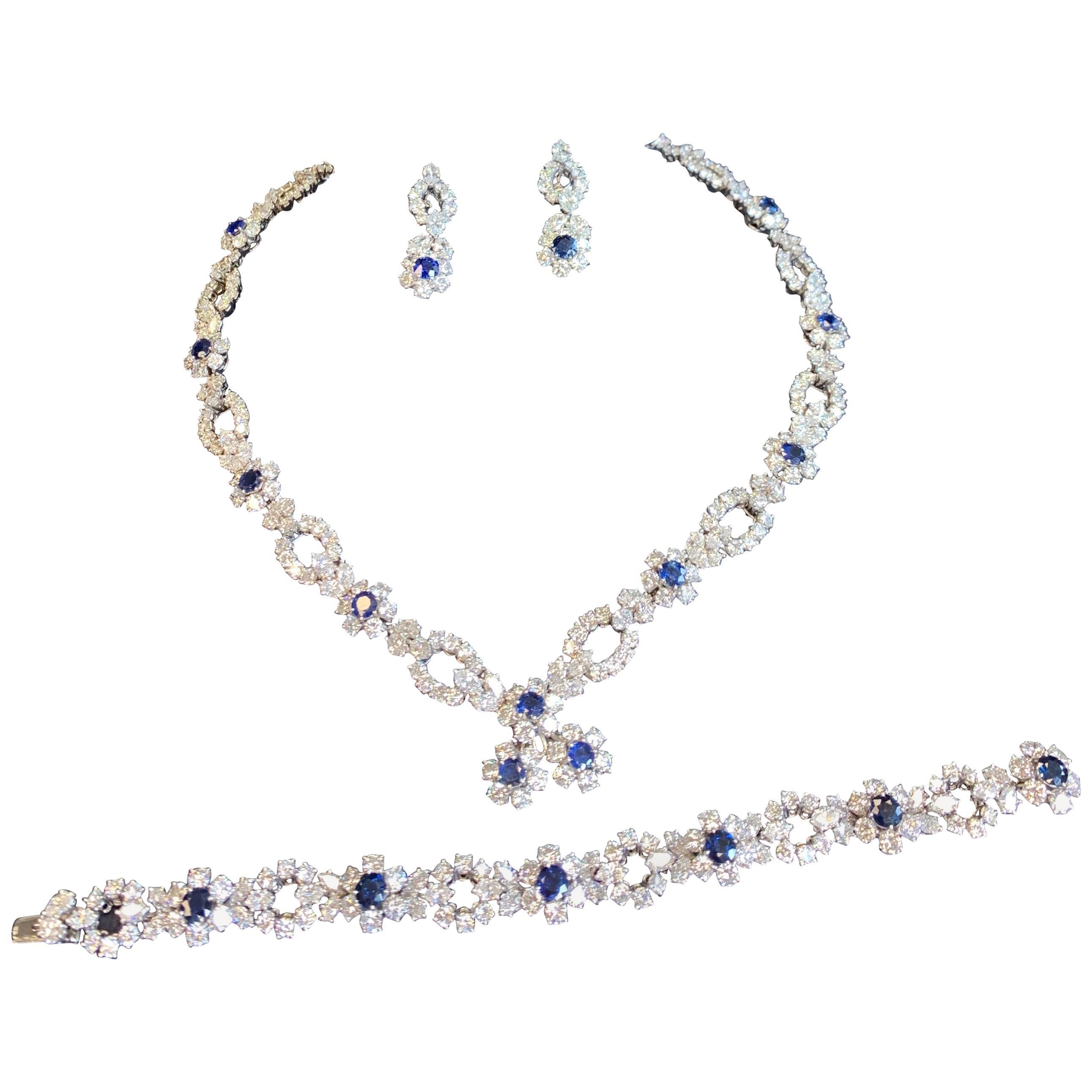 Harry Winston Diamond Sapphire Necklace Bracelet Earrings Set