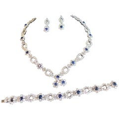 Harry Winston Diamond Sapphire Necklace Bracelet Earrings Set