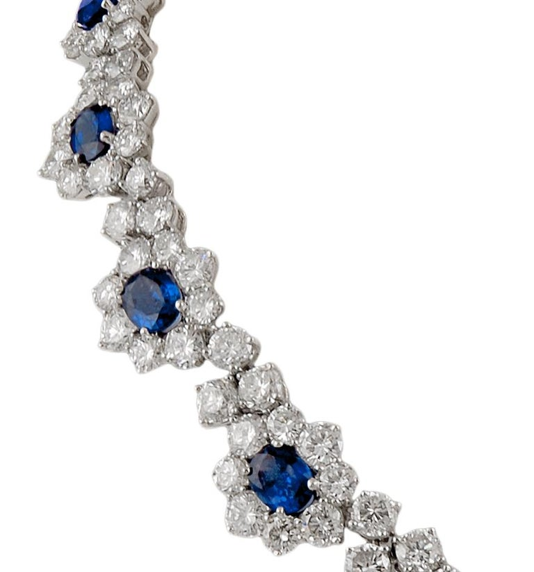 Harry Winston Diamond, Sapphire Necklace In Good Condition For Sale In New York, NY