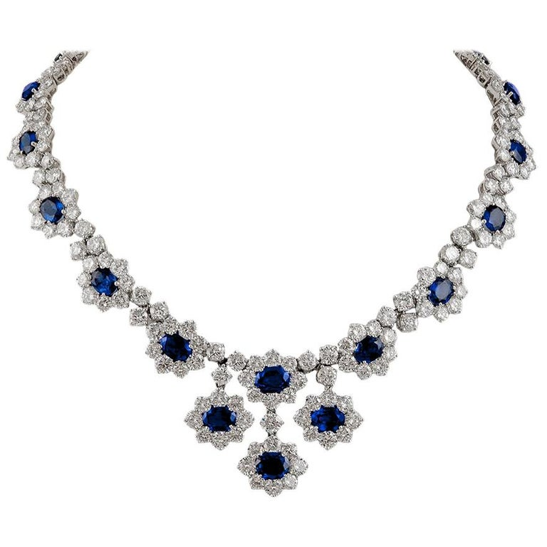 Harry Winston Diamond, Sapphire Necklace For Sale