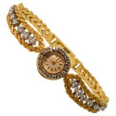 Harry Winston Diamond Yellow Gold Ladies Dress Bracelet Wristwatch