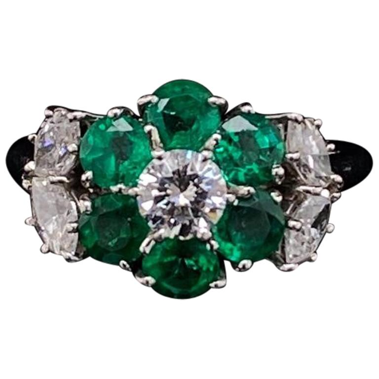 Harry Winston Emerald and Diamond Floral Cluster Platinum Engagement Ring