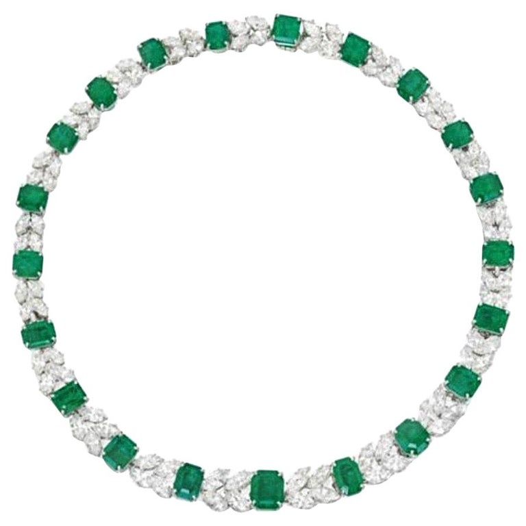 Harry Winston Emerald and Diamond Necklace For Sale