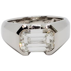 Harry Winston Estate G Color Emerald Cut Diamond Ring with GIA and Paperwork