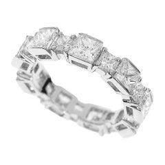 Harry Winston Eternity Princess Cut 5.14 Carat Diamond Platinum Ring
