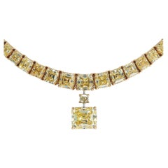 Harry Winston Fancy Yellow Emerald Cut 10.75 Carat Diamond Gold GIA Necklace