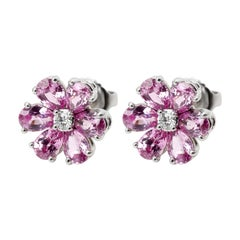 Harry Winston Forget-Me-Not Diamond and Pink Sapphire Earrings in Platinum