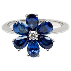 Harry Winston Forget Me Not Sapphire and Diamond Flower Ring in Platinum