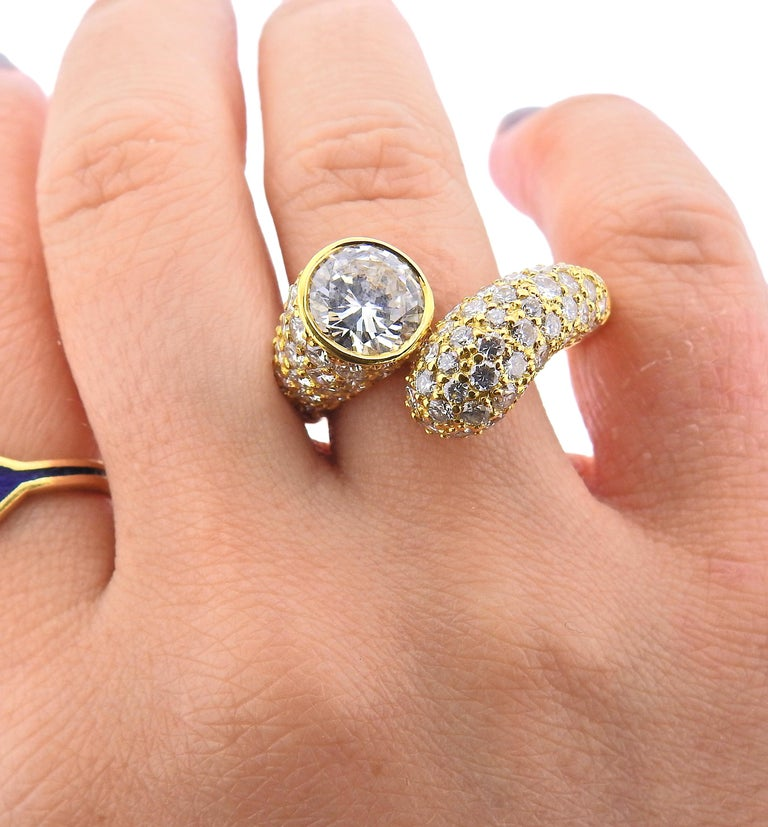 Harry Winston GIA 2.24 Carat D VVS2 Diamond Gold Ring In Excellent Condition For Sale In New York, NY