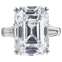 Harry Winston GIA Certified 12.14 Ct D IF Emerald Cut Diamond Three-Stone Ring