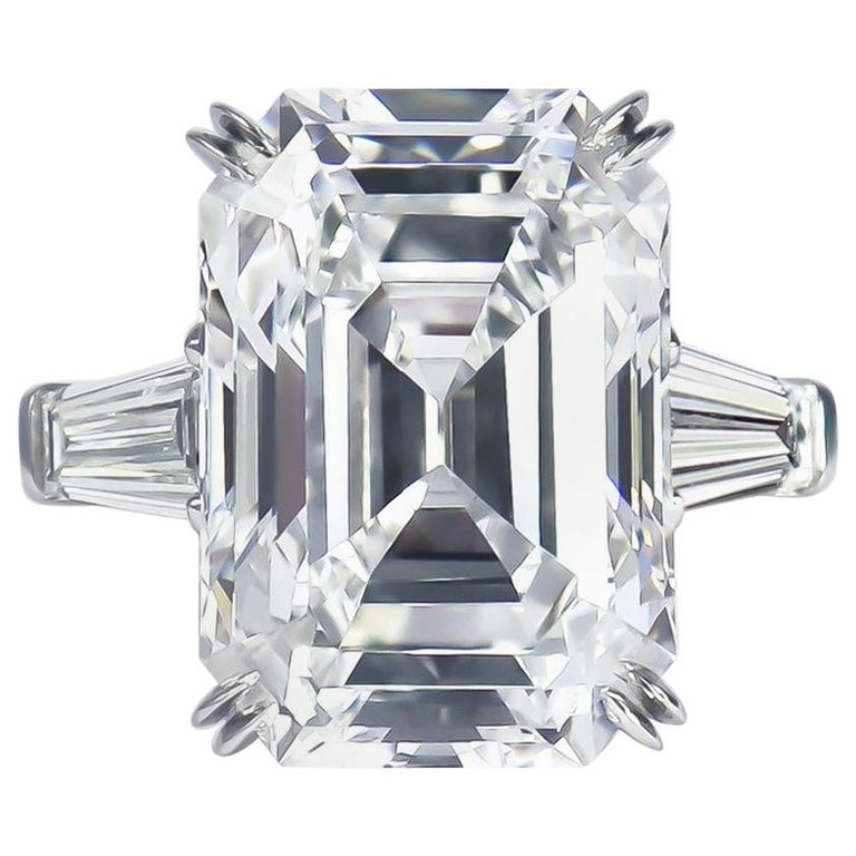 Harry Winston GIA Certified 12.14 Ct D IF Emerald Cut Diamond Three-Stone Ring For Sale